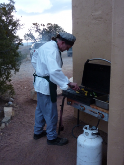 Our chef at the grill